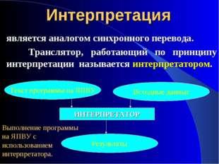 Интерпретация является аналогом синхронного перевода. Транслятор, работающий