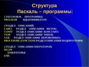 Структура Паскаль – программы: { ЗАГОЛОВОК ПРОГРАММЫ} PROGRAM ИДЕНТИФИКАТОР;
