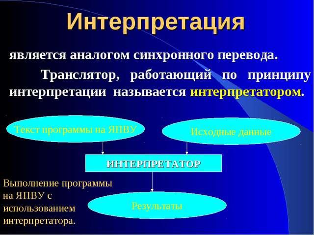 Интерпретация является аналогом синхронного перевода. Транслятор, работающий...