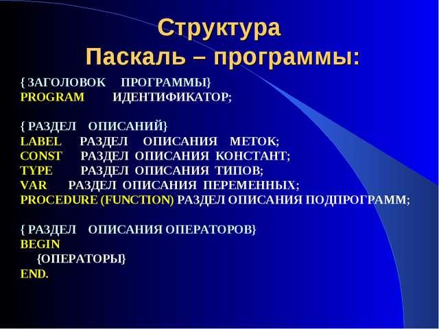 Структура Паскаль – программы: { ЗАГОЛОВОК ПРОГРАММЫ} PROGRAM ИДЕНТИФИКАТОР;...