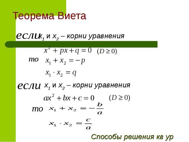 Теорема Виета x1 и х2 – корни уравнения x1 и х2 – корни уравнения Способы реш...