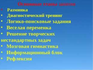 Основные этапы занятия Разминка Диагностический тренинг Логико-поисковые зад