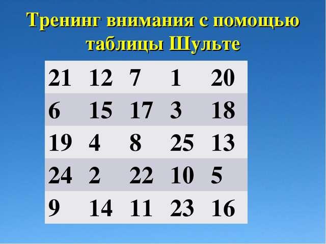 Тренинг внимания с помощью таблицы Шульте 21127120 61517318 194825...