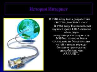 История Интернет В 1984 году была разработана система доменных имен. В 1984 г