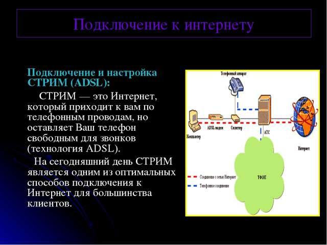 Подключение к интернету Подключение и настройка СТРИМ (ADSL): СТРИМ— это Ин...