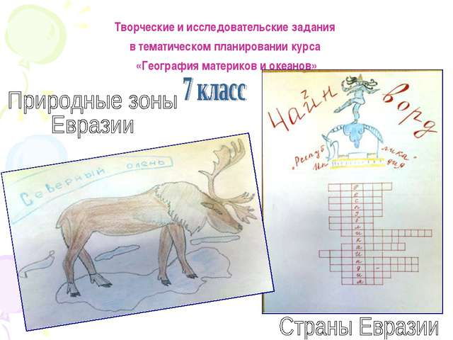 Творческие и исследовательские задания в тематическом планировании курса «Гео...