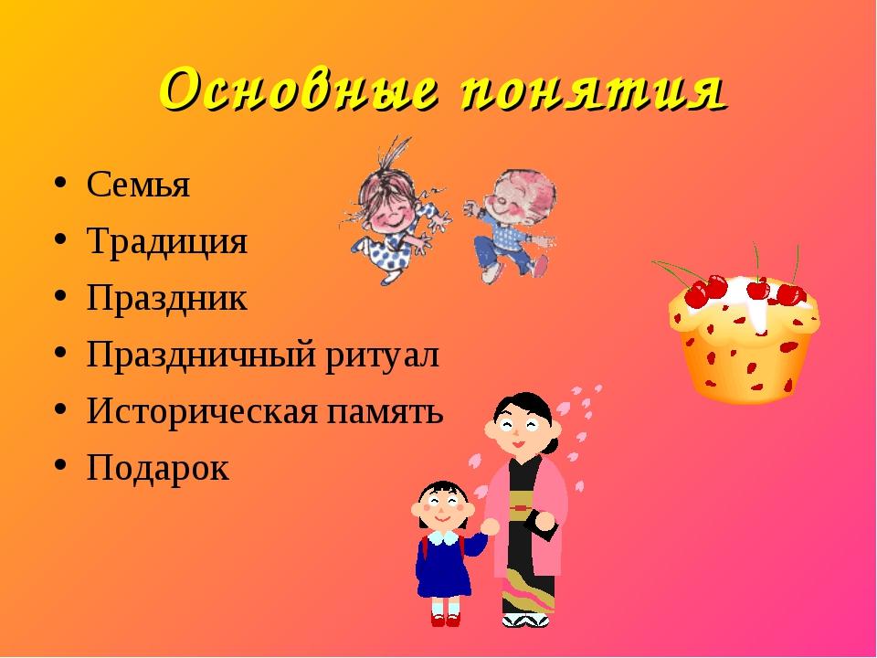 Основные понятия Семья Традиция Праздник Праздничный ритуал Историческая памя...