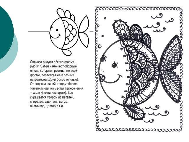 Сначала рисуют общую форму – рыбку. Затем намечают опорные линии, которые про...