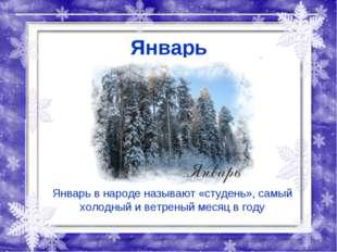 Январь Январь в народе называют «студень», самый холодный и ветреный месяц в