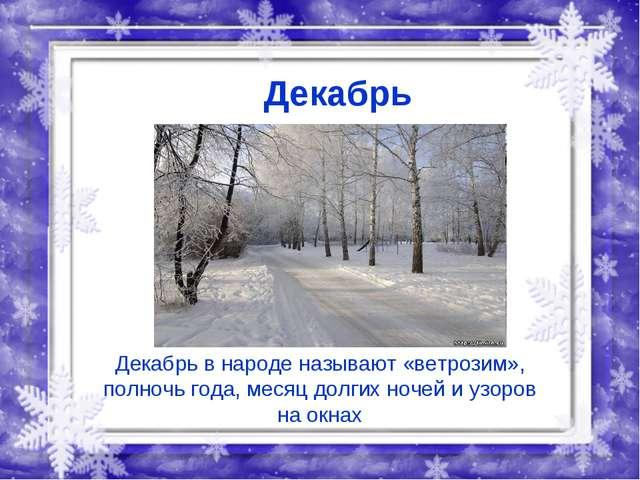 Декабрь Декабрь в народе называют «ветрозим», полночь года, месяц долгих ноче...