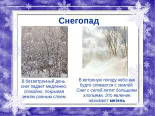 Снегопад В безветренный день снег падает медленно, спокойно, покрывая землю р