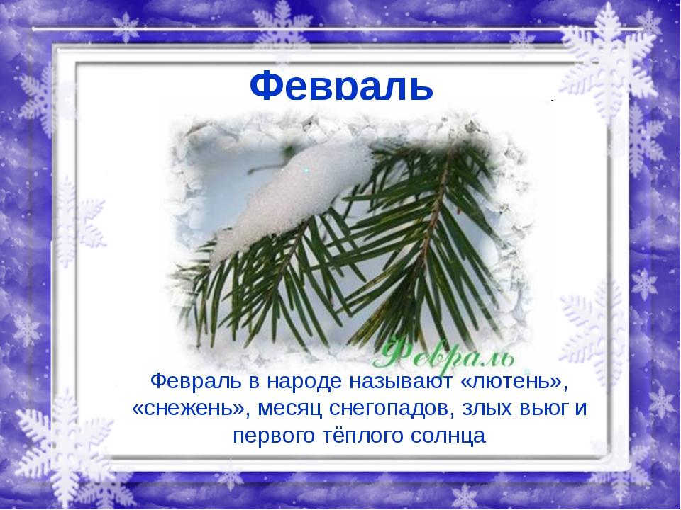 Февраль Февраль в народе называют «лютень», «снежень», месяц снегопадов, злых...