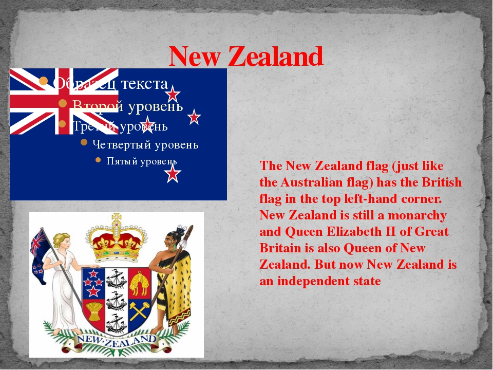 New Zealand The New Zealand flag (just like the Australian flag) has the Brit...