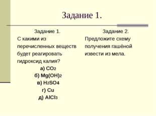 Задание 1. Задание 1. С какими из перечисленных веществ будет реагировать гид