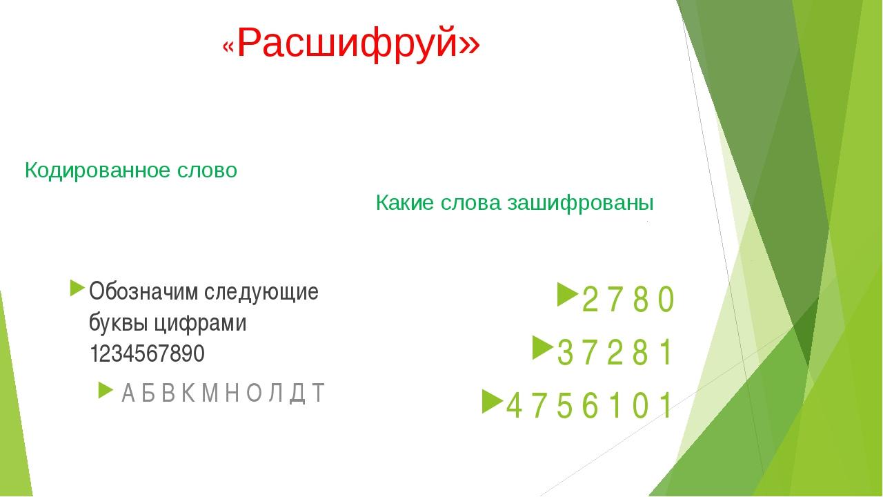«Расшифруй» Кодированное слово Обозначим следующие буквы цифрами 1234567890 А...