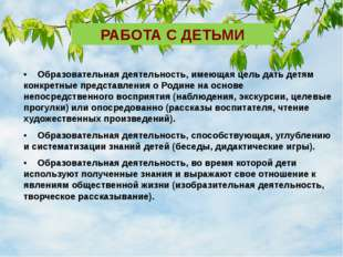 РАБОТА С ДЕТЬМИ •Образовательная деятельность, имеющая цель дать детям конкр