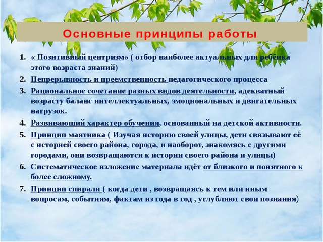 Основные принципы работы « Позитивный центризм» ( отбор наиболее актуальных д...