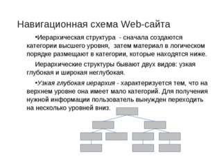 Навигационная схема Web-сайта Иерархическая структура - сначала создаются кат