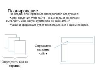Планирование На стадии планирования определяется следующее: цели создания Web