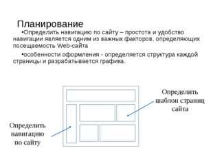 Планирование Определить навигацию по сайту – простота и удобство навигации яв