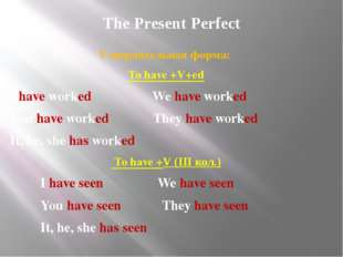 The Present Perfect Утвердительная форма: To have +V+ed I have worked We have