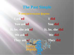 The Past Simple Утвердительная форма: I asked I did You asked You did It, he,