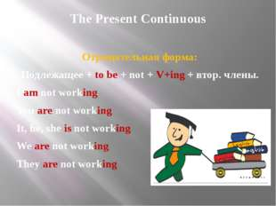 The Present Continuous Отрицательная форма: Подлежащее + to be + not + V+ing