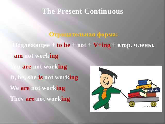 The Present Continuous Отрицательная форма: Подлежащее + to be + not + V+ing...