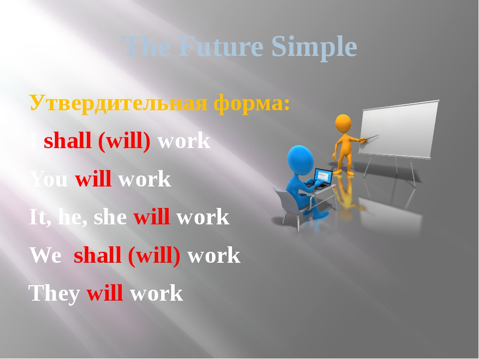 The Future Simple Утвердительная форма: I shall (will) work You will work It,...