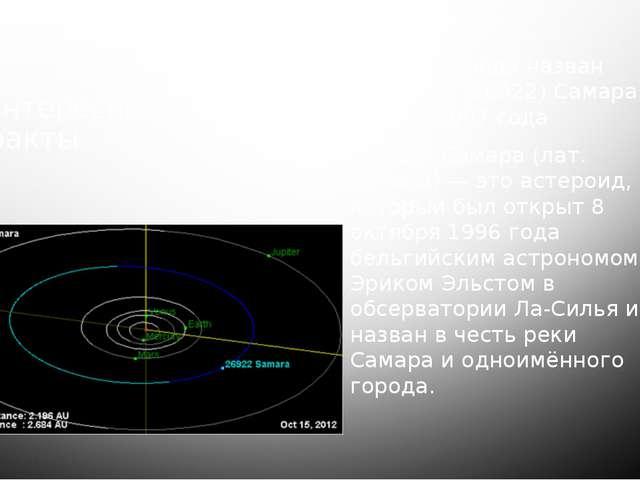 Интересные факты В честь города назван астероид (26922) Самара 1 июня 2007 го...