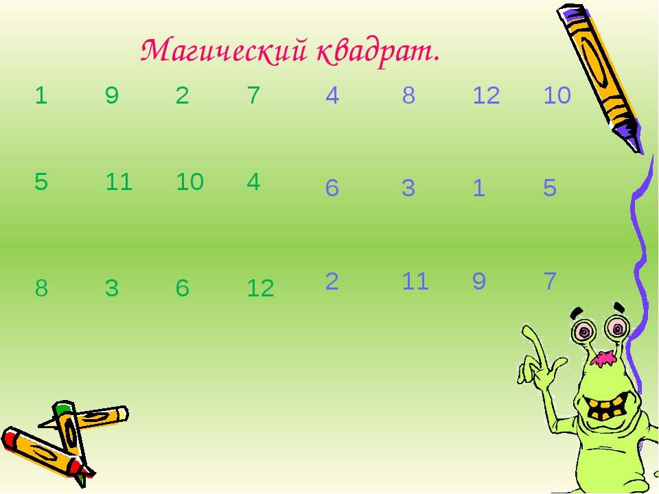 Магический квадрат. 1 9 2 7 5 11 10 4 8 3 6 12 4 8 12 10 6 3 1 5 2 11 9 7