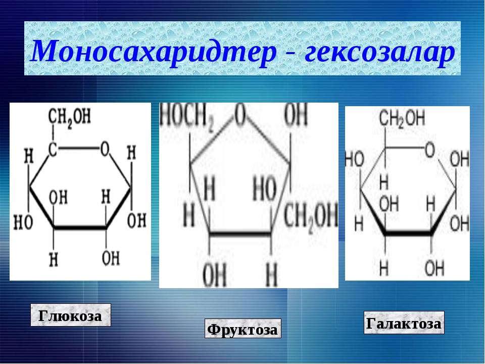 Глюкоза Фруктоза Галактоза Моносахаридтер - гексозалар