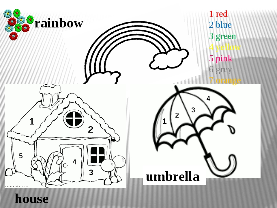 umbrella house rainbow 1 2 3 1 2 3 4 4 5 1 red 2 blue 3 green 4 yellow 5 pink...