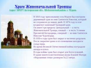 В 1810 году прихожанами села Муром был построен деревянный храм во имя Святит