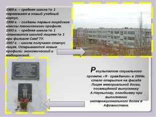 1989 г. – средняя школа № 1 переезжает в новый учебный корпус. 1990 г. – созд