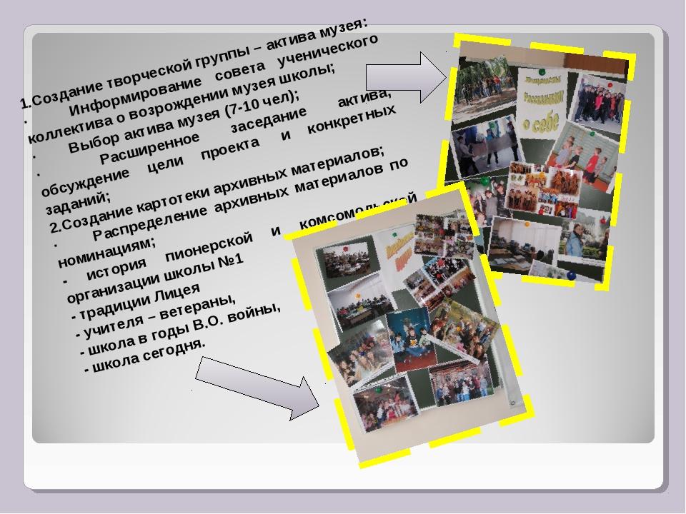 1.Создание творческой группы – актива музея: · Информирование совета у...