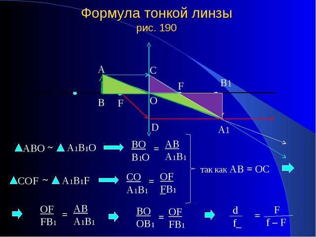 Формула тонкой линзы рис. 190 так как АВ = ОС