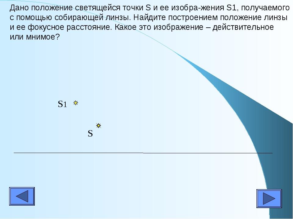 Дано положение светящейся точки S и ее изобра-жения S1, получаемого с помощью...