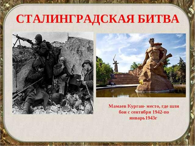 СТАЛИНГРАДСКАЯ БИТВА Мамаев Курган- место, где шли бои с сентября 1942-по янв...