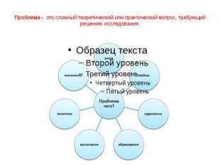 Проблема - это сложный теоретический или практический вопрос, требующий реше