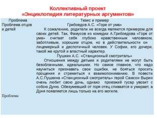 Коллективный проект «Энциклопедия литературных аргументов» Проблема Тезис и п