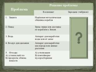 ПроблемаРешение проблемы Космонавт Зародыш (эмбрион) ЗащитаНадёжная мета