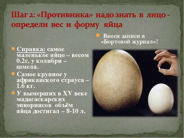 Справка: самое маленькое яйцо – весом 0.2г, у колибри – шмеля. Самое крупное...