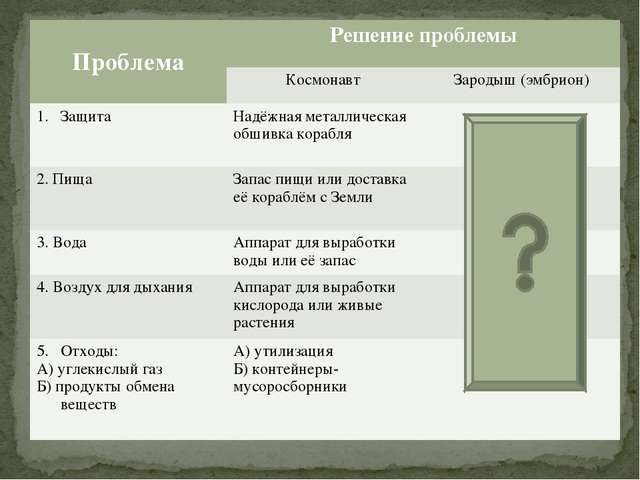 ПроблемаРешение проблемы Космонавт Зародыш (эмбрион) ЗащитаНадёжная мета...