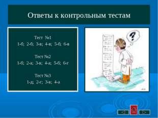 Ответы к контрольным тестам Тест №1 1-б; 2-б; 3-в; 4-в; 5-б; 6-в Тест №2 1-б;