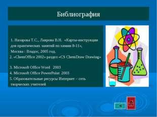 Библиография 1. Назарова Т.С., Лаврова В.Н. «Карты-инструкции для практически