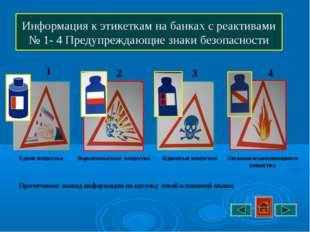 Информация к этикеткам на банках с реактивами № 1- 4 Предупреждающие знаки бе