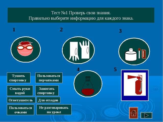 Тест №1 Проверь свои знания. Правильно выберите информацию для каждого знака....