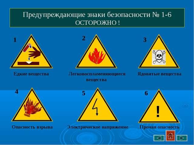 Предупреждающие знаки безопасности № 1-6 ОСТОРОЖНО ! Едкие вещества Опасность...