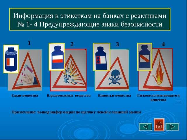 Информация к этикеткам на банках с реактивами № 1- 4 Предупреждающие знаки бе...